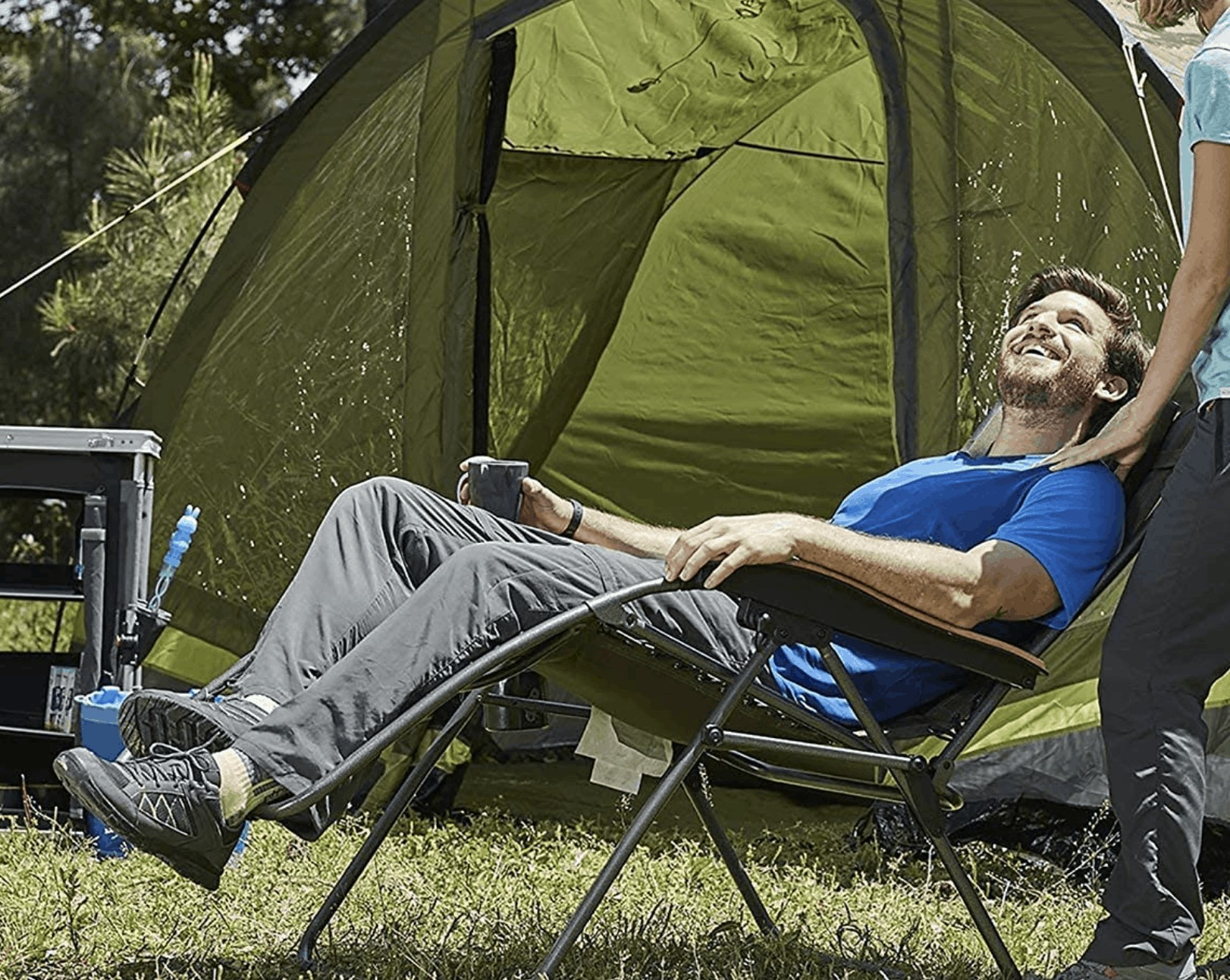 Reclining Camping Chair with Footrest